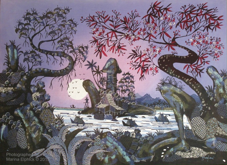 Surreal landscape batik by Mr Robimin and Hanjani.