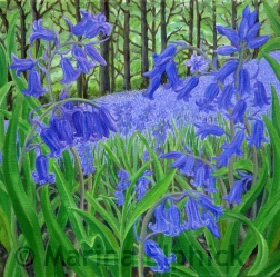 Bluebell woods, oil on canvas by Marina Elphick, painter and batik artist working in the UK