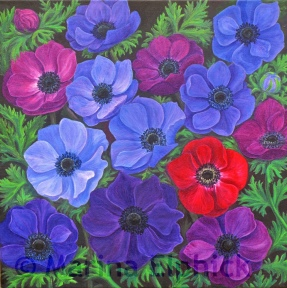Anemones, oil on canvas by Marina Elphick, painter and batik artist working in the UK