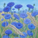 Summer Blues, oil on canvas by Marina Elphick, painter and batik artist working in the UK