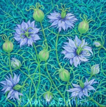 Nigella flowers, oil on canvas by Marina Elphick, painter and batik artist working in the UK