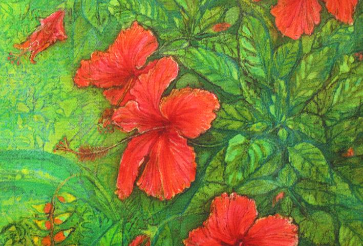 Hibiscus close up, batik portraits by Marina Elphick