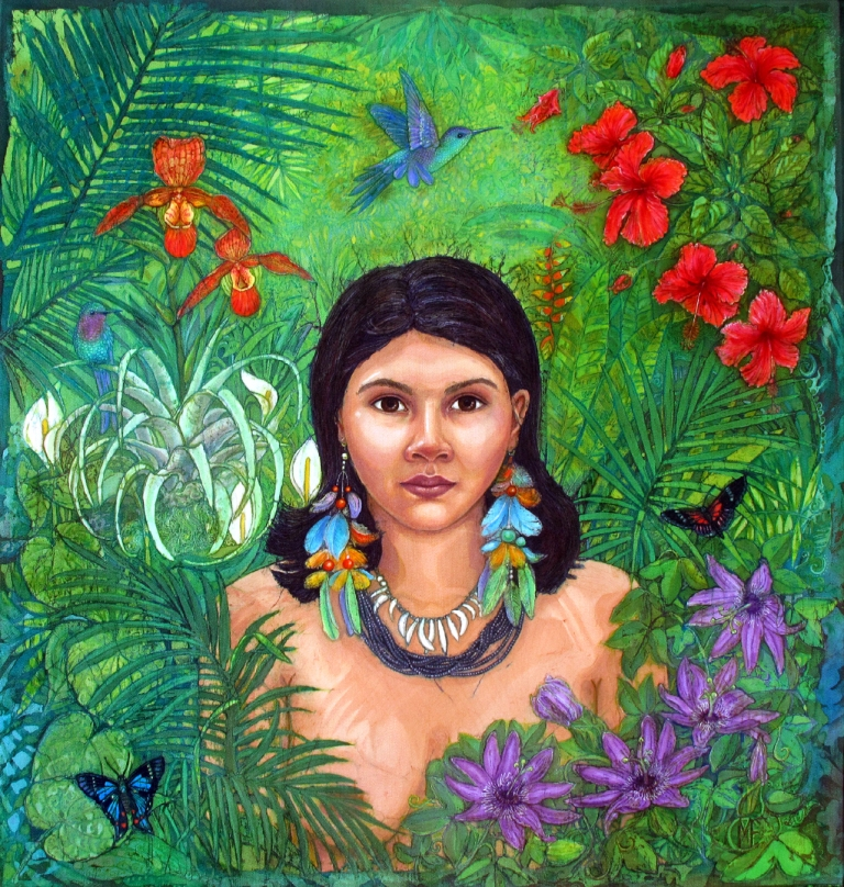 Batik portrait of Huaorani Girl, batik portraits by Marina Elphick