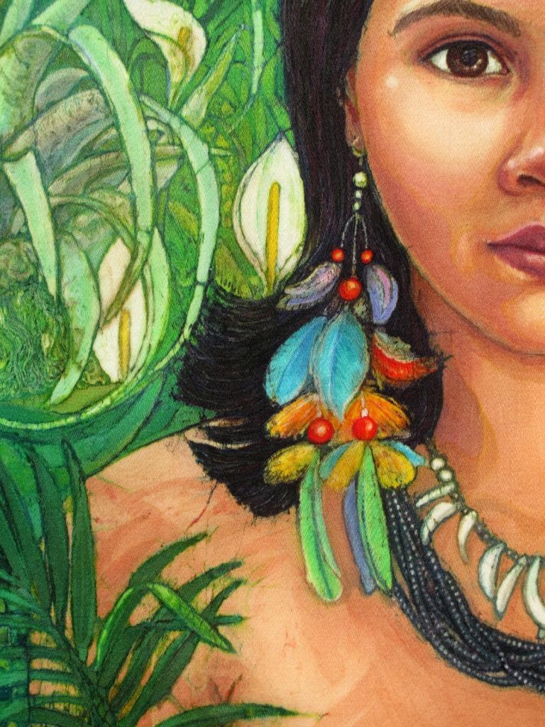 Huaorani Girl, batik portraits by Marina Elphick