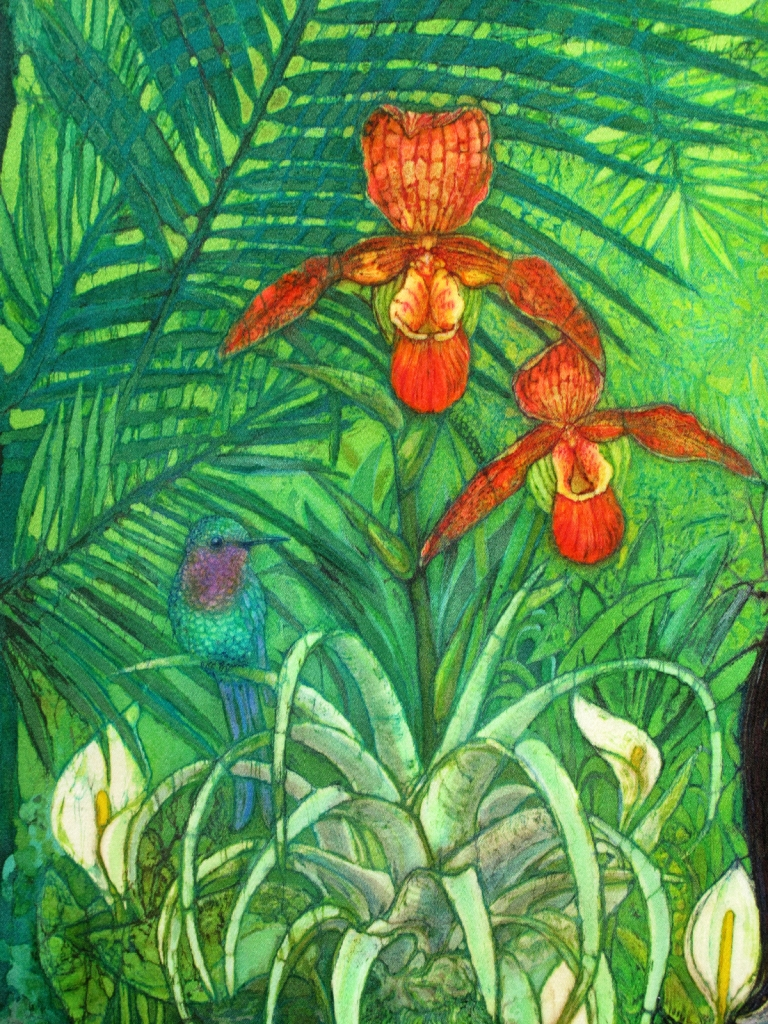 Huaorani Girl orchid detail, batik portraits by Marina Elphick