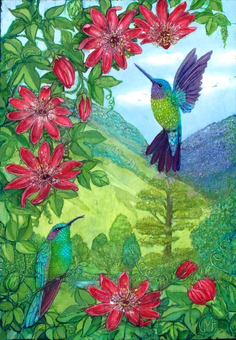 Hummingbirds and Passiflora batik.batik portraits by Marina Elphick