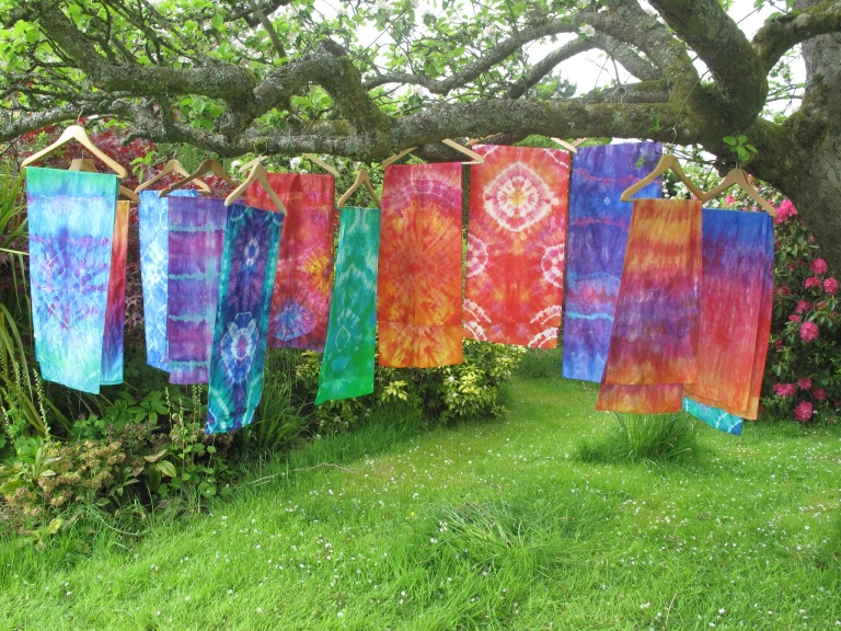 Tie dyed silk in wonderfully bright colours by Marina Elphick, batik artist and painter.