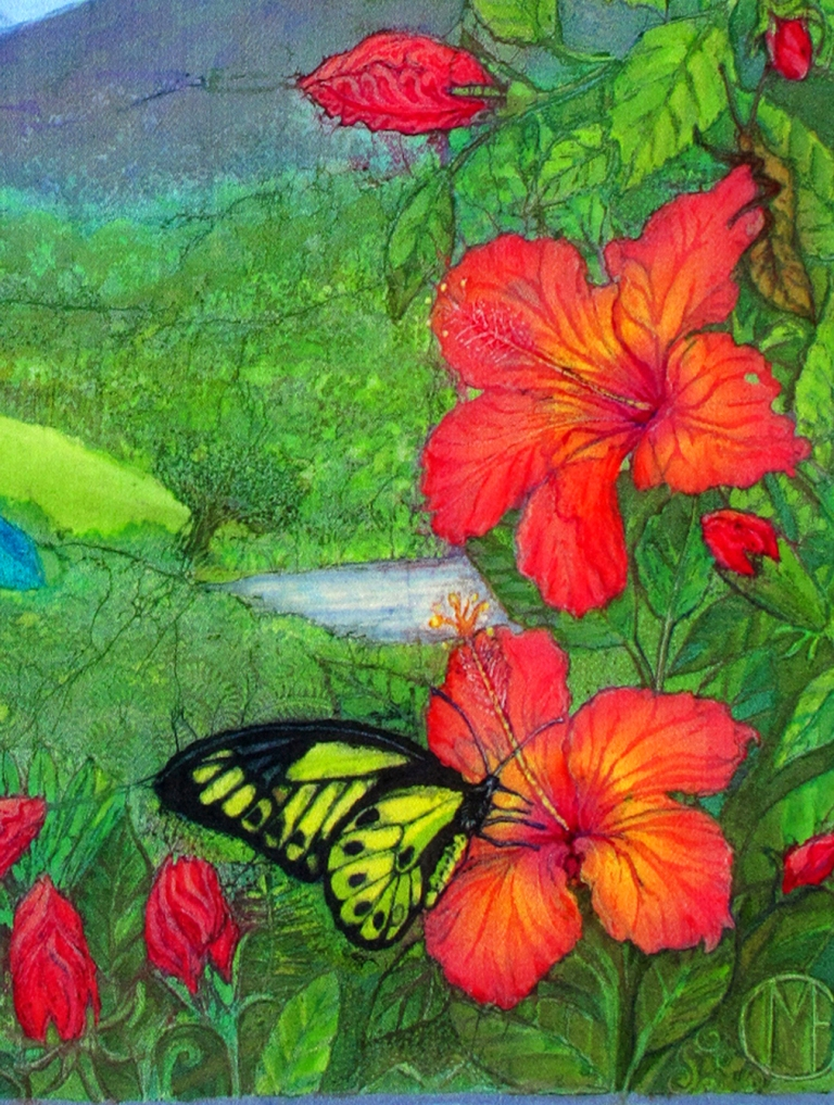 Long Tailed Sylph with Hibiscus, batik portraits by Marina Elphick