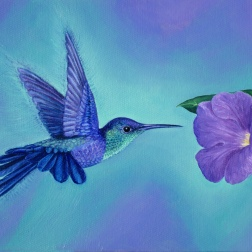 Purple woodstar, oil on canvas