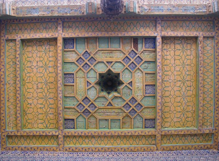 Yellow ceiling at Tash-Hauli Harem, Uzbekistan.