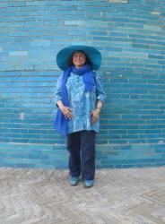 Posing by Kalta-Minor, Khiva. Uzbekistan.