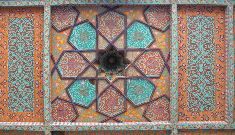 Orange ceiling at Tash-Hauli Harem, Uzbekistan.