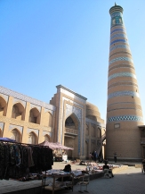 Khiva Islam- Khadja minaret, tallest in city, Uzbekistan.