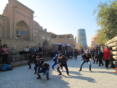 Khiva lads dancing to modern Grime music. Uzbekistan.