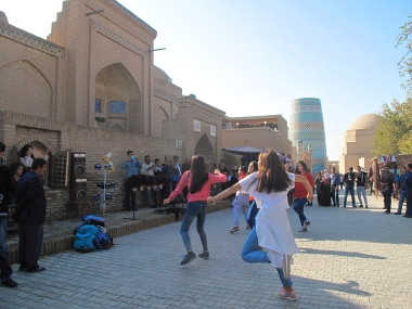 Khiva youngsters dancing to modern Grime music. Uzbekistan.