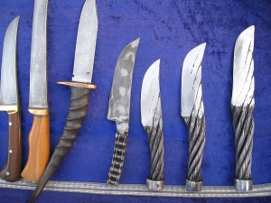 Knives made from steel rope and bicycle chain, Bukhara, Uzbekistan.