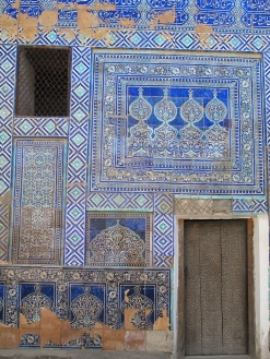 Tiled walls in courtyard of Kunya-Ark, Mosque, Khiva. Uzbekistan.