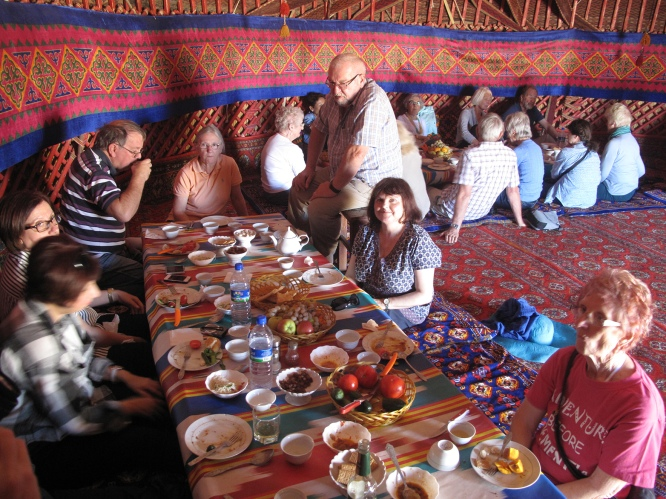 Lunch in Yurt on way to Khiva, Uzbekistan.