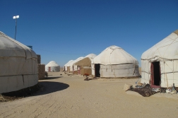 lunch stop at Yurt camp on route to Khiva, Uzbekistan.