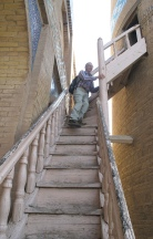 Our climb up the tallest Minaret in Khiva. Richard King and Marina.