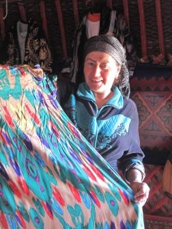 Our hostess at Yurt camp on the way to Khiva, Uzbekistan.