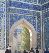 Decorative arch, Gur-Emir Mausoleum, Samarkand. Uzbekistan.