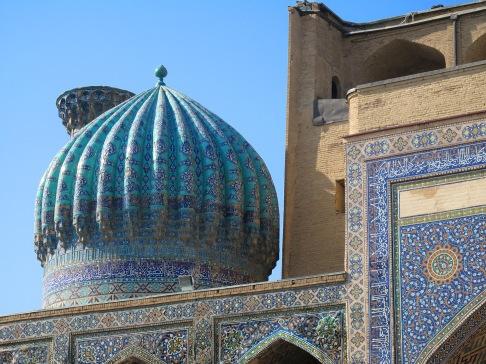 Sher-Dor Madrasah dome, Samarkand, Uzbekistan.