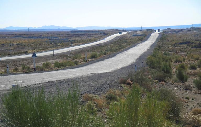 Silk road from Nukus to Khiva, Uzbekistan.
