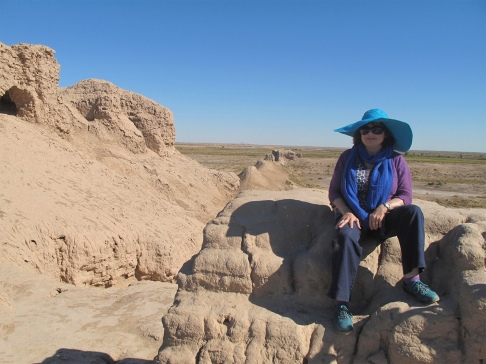 Sitting on ancient remains of Zoroastrian city, Nukus area, Uzbekistan.