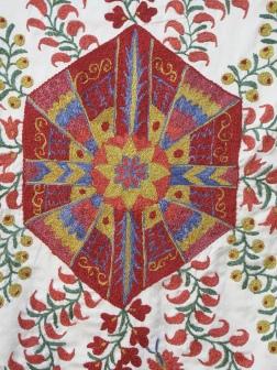 Detail of stitch on Suzani embroidery, Bukhara, Uzbekistan.