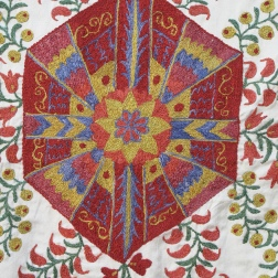 Detail of stitch on Suzani embroidery, Bukhara, Uzbekistan.