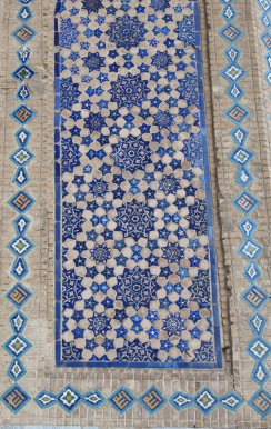 Tiles at Tillya-Kari Madrasah, Samarkand, Uzbekistan.