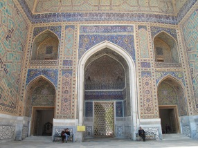 Tillya-Kari Madrasah, interior, Registan Square, Samarkand, Uzbekistan.