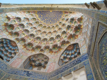 Under-dome stalactite systems,and complex 'sails',at the Madrasah of Abdal-Aziz-Khan, Bukhara. Uzbekistan.