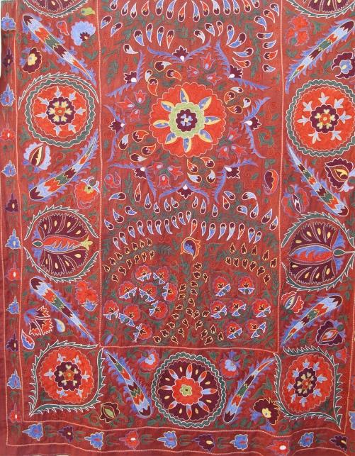 Red Uzbek Suzani Khiva, Uzbekistan.