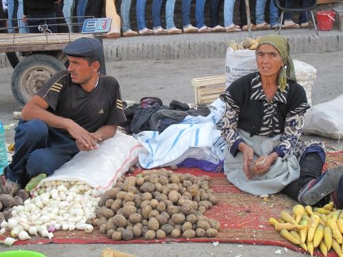 Vegetable market scene, Khiva. Uzbekistan.