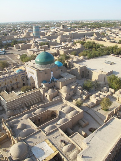 View from top Islam-Khadja Minaret, Khiva, Uzbekistan.