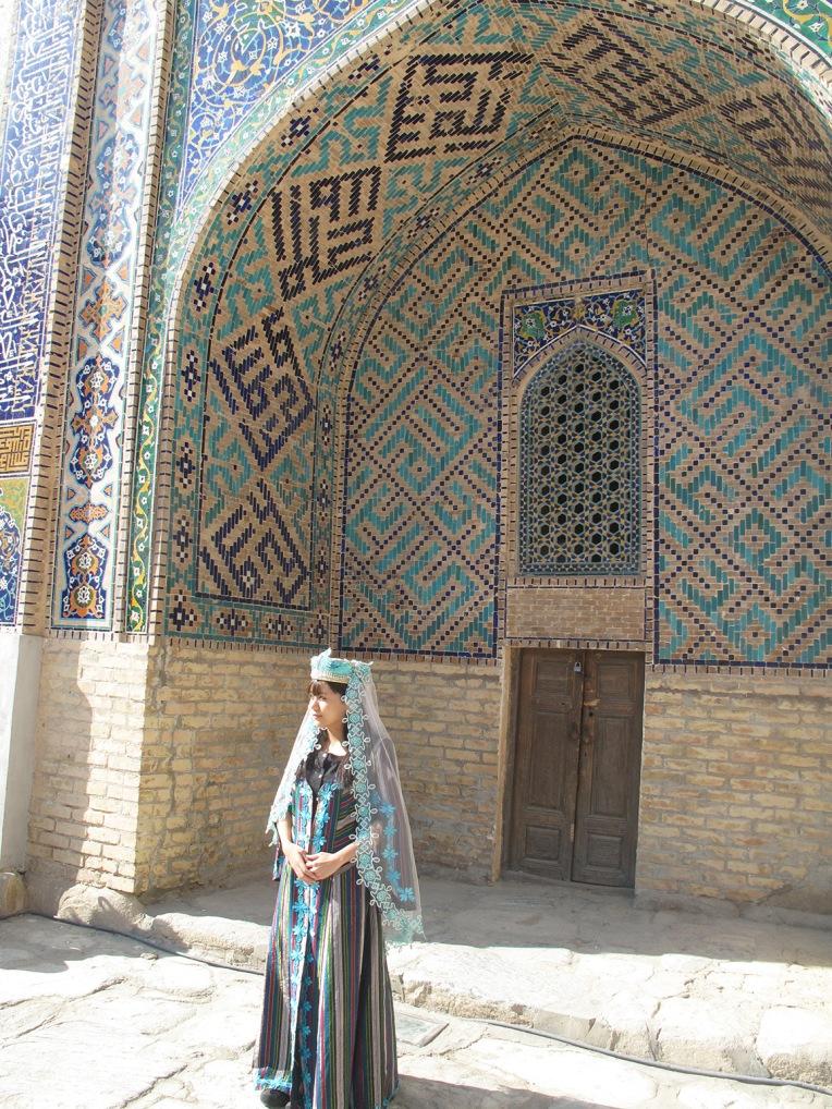 Woman in Sher-Dor Madrasah, Samarkand, Uzbekistan.