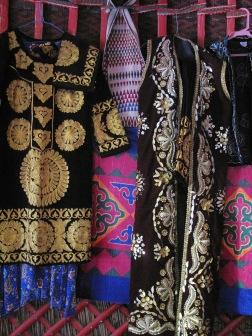 Yurt dresses belonging to our hostess.