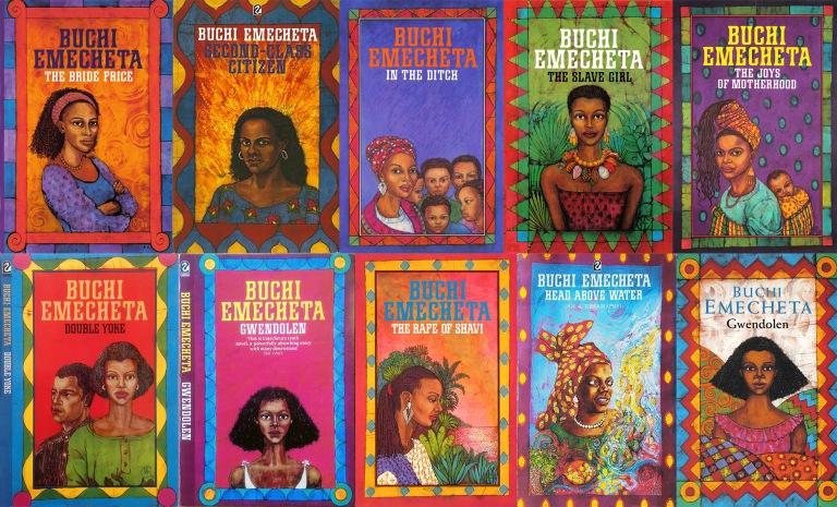 Buchi Emecheta, a prolific and successful Nigerian writer. Set of ten books by Buchi Emecheta, illustrated by Marina Elphick. Artwork by Marina Elphick.