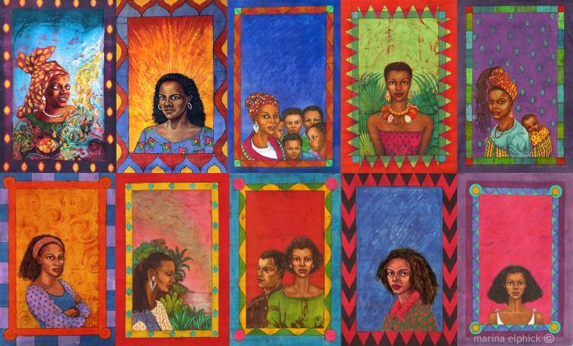 Batik artwork by Marina Elphick created for Buchi Emecheta's books. Florence Onyebuchi Emecheta was one of Africa's foremost writers, her work read worldwide.