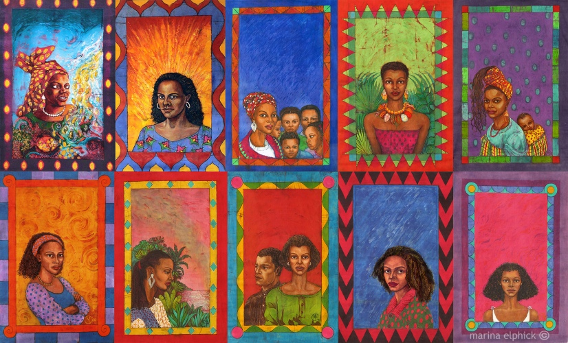 Batik artwork by Marina Elphick created for Buchi Emecheta's books. Florence Onyebuchi Emecheta was one of Africa's foremost writers, her work read worldwide.