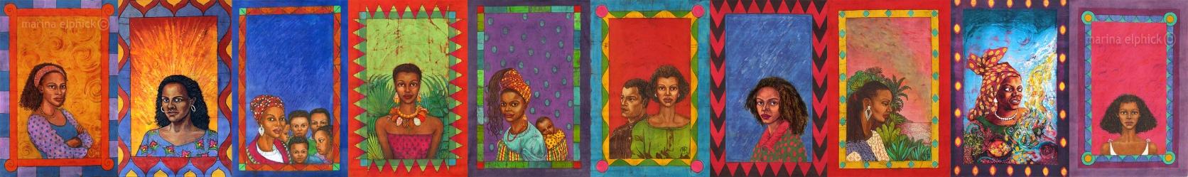 All artwork for Buchi Emecheta's books, by Marina Elphick, UK's leading batik artist.