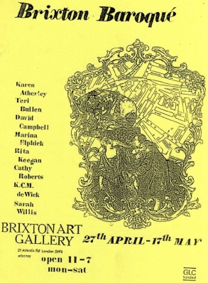 Flyer for 'Brixton Baroque' exhibition at Brixton Art Gallery.