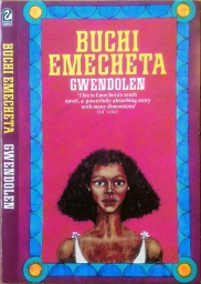 "Printed book cover for "" Gwendolen"" By Buchi Emecheta. Artwork by Marina Elphick."