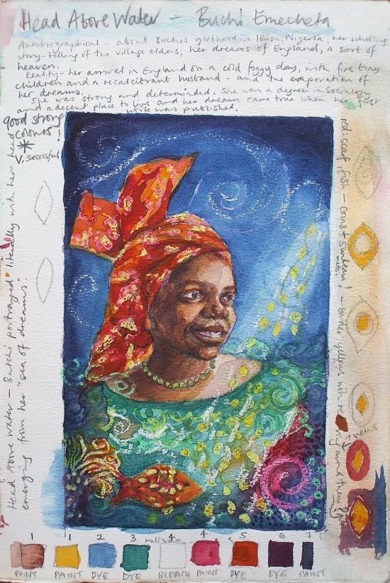 "Buchi Emecheta ""Head Above Water"", sketch and colour plan, watercolour by Marina Elphick. Portrait of Buchi Emecheta."