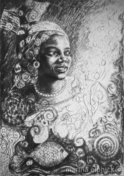 "Portrait of Buchi Emecheta in charcoal, by Marina Elphick. The final artwork for ""Head Above Water"" made in batik was based on this drawing. Buchi Emecheta was one of Africa's foremost writers, her work was read and loved worldwide."