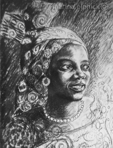 Detail of portrait of Buchi Emecheta in charcoal, by Marina Elphick.