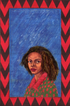 "Completed artwork for Buchi Emecheta's ""Destination Biafra"", batik by Marina Elphick."