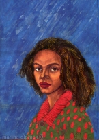 Anthea, detail of artwork in batik by Marina Elphick. Destination Biafra.
